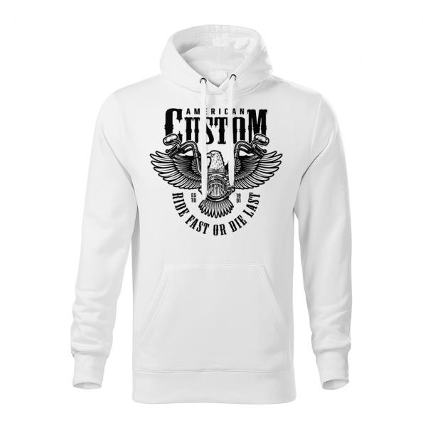 189 – American Custom – Ride fast or die last – Orol – mikina_panske_biela