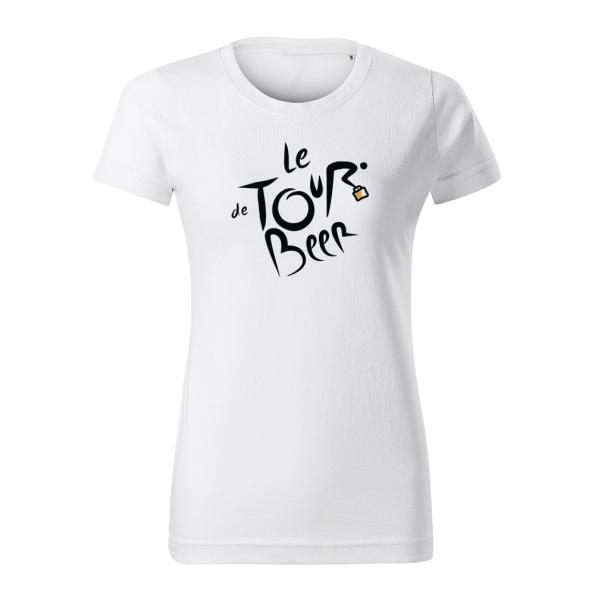 ID0110 – vtipne – le_tour_de_beer – tricko_damske_biela