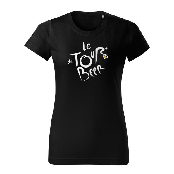 ID0110 – vtipne – le_tour_de_beer – tricko_damske_cierna