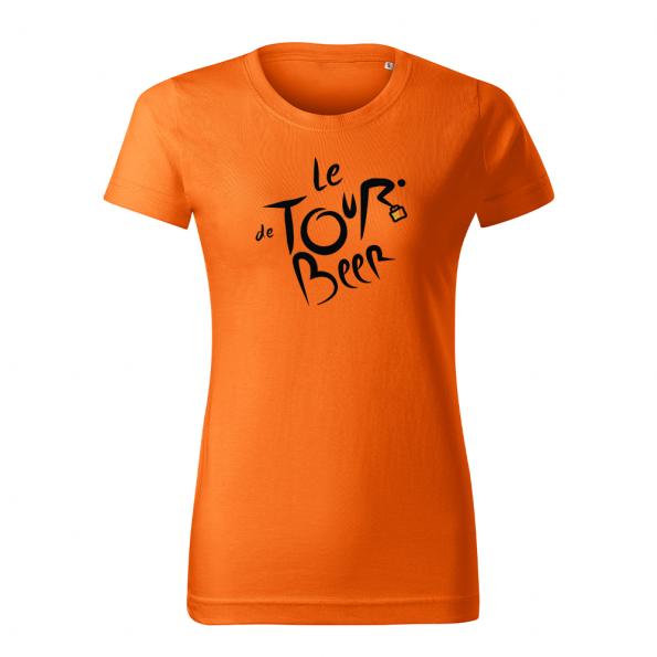 ID0110 – vtipne – le_tour_de_beer – tricko_damske_oranzova