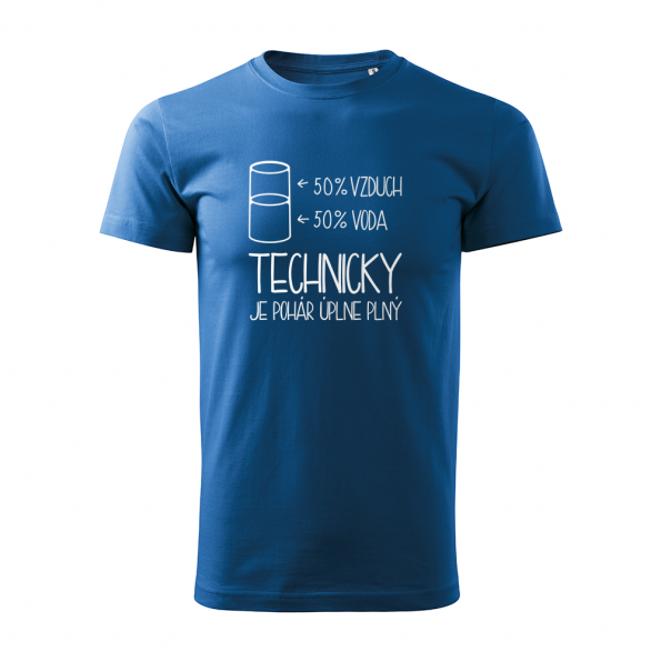 ID0120 – vtipne – technicky_je_pohar_uplne_plny – tricko_panske_modra