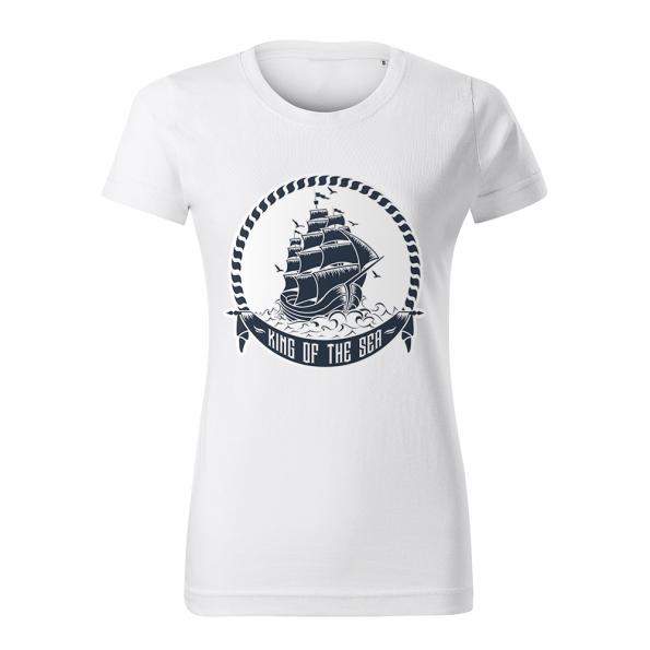 ID0235 – namornicke – tricko_damske_biele_king_of_the_sea